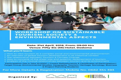 WORKSHOP ON SUSTAINABLE TOURISM: SOCIETY & ENVIRONMENTAL ASPECTS
